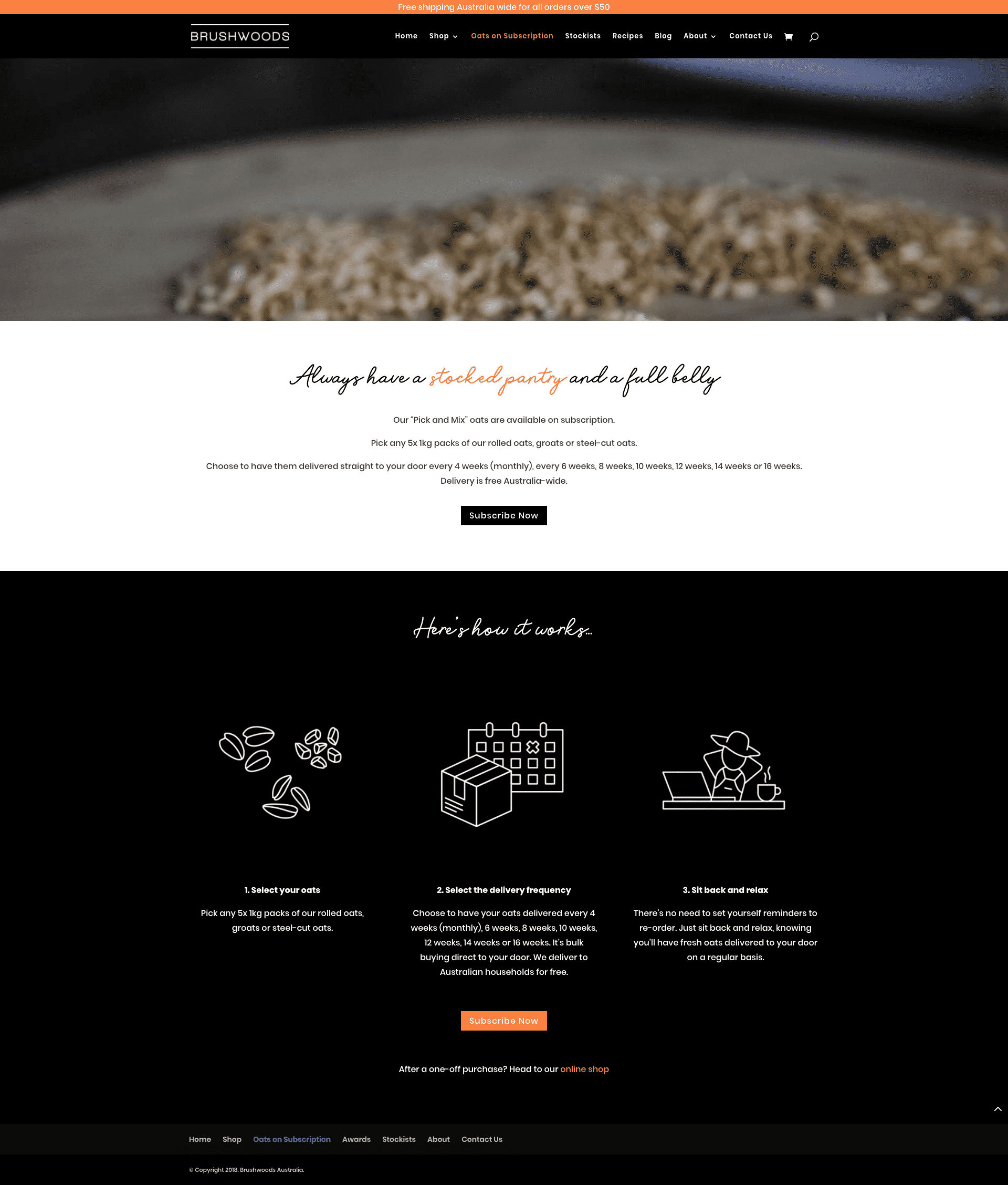 """Image of Brushwoods Australia """"Oats on Subscription"""" web page which provides details about how the subscription service works."""